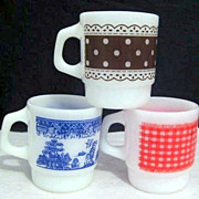 3 Fire King Design Mugs  - Chocolate Dots Red Gingham Blue Willow