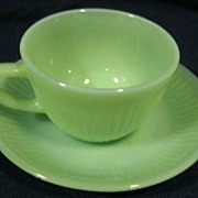 SOLD Fire King  Jadeite Jane Ray Cup & Saucer Set - 10% OFF Everything in APRIL!!