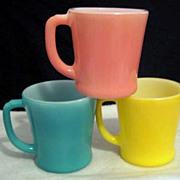SOLD 3 Fire King Colorful Mugs  - 10% OFF Everything in APRIL!!