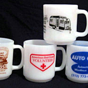 4 Glasbake Advertising Mugs