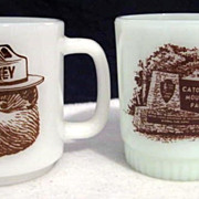 SOLD 2 Smokey The Bear Mugs - Fire-King & Glasbake - 10% off Listed Price on Everything in APR