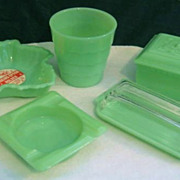 Lot of Fire King Jadeite Glass - Butter Dish, Rose Box Ashtray  Dish - Factory Label