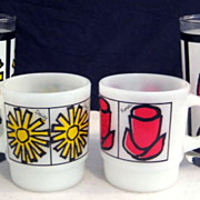 2 Fire King Pop Floral Mugs & Matching Tumblers