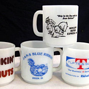 Lot of 4 Glasbake Advertising Mugs -  Mercury Motor Dunkin Donuts Rid