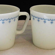 SOLD 2 Pyrex Blue Garland Mugs -  10% OFF Everything in APRIL!!