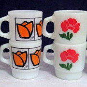 SOLD 8 Colorful Fire King Flower Mugs -  10% OFF Everything in APRIL!!