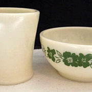 SOLD Fire King Ivory Shaving Mug & Decorated Breakfast Bowl