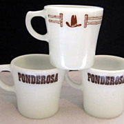 SOLD 3 Pyrex Ponderosa Advertising Mugs -10% OFF Everything in APRIL!!