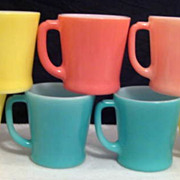 SOLD 7 Fire King Colorful Mugs - 10% OFF Everything in APRIL!!