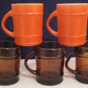 SOLD 5 Fire King Amber & Orange  Ranger Mugs - 10% OFF Everything in APRIL!!