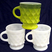 SOLD 3 Fire King Kimberly Mugs - as is  -10% OFF Everything in APRIL!!