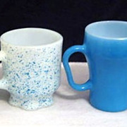 "Lot of 4 Fire King Blue  Mugs - Concord Camelot Soda ""D"" Handle"