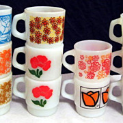 SOLD Lot of 11 Fire King Colorful Flower Mugs -  10% OFF Everything in APRIL!!