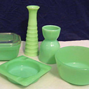 Lot of Fire King Jadeite Glass - Vase Refrigerator Box Ashtray  Egg Cup