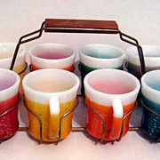 SOLD 8 Fire King Glamalite Mugs with Rack - 10% OFF Everything in APRIL!!