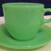 SOLD Fire King St. Denis Jadeite Cup & Saucer Set -  10% OFF Everything in APRIL!!