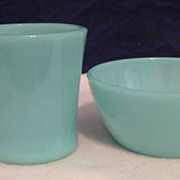 SOLD Fire King Turquoise Mug & Turquoise  Davy Crockett  Bowl