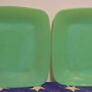 SALE PENDING 2 Fire King Jadeite Charm Plates - as is