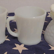 5 Pieces Fire King 2  Mugs, Bowl and Ashtrays