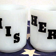 His & Hers Glasbake Mugs