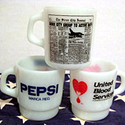 3 Milk Glass Advertising Mugs  Pepsi Newpaper Donate Blood