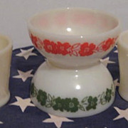 2 Fire King Ivory Shaving MUGS & Ivory Flower Bowls