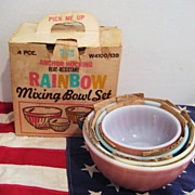 Box Set of Fire King 4 Rainbow Mixing Bowl -  Unused