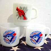 SOLD 3 Fire King & Federal Bird Mugs - Toronto Blue Jays