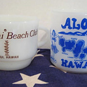 SOLD 2 Hawaii Souvenir Mugs  - HTF                Fire-King & Federal