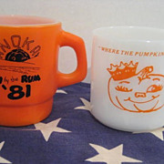 2  Pumpkin Souvenir Mugs - Fire King & Federal Glass