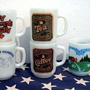 SALE PENDING 5 Fire King 10 ounce mugs