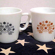 2 Pyrex Flower Mugs