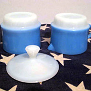 Fire King Blue Mosaic Creamer and Sugar with Lid