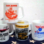 4 Colorful Advertising Mugs - Northwestern Bell Tractor Air Freight Luncorp