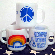 3 Glasbake Mugs - Rainbows Flowers Peace Sign