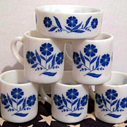 5 Hazel Atlas Flower Mugs & 1 Bowl - Perfect