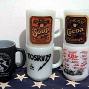 5 Fire King 10 ounce mugs - Military  Aunt Jenny Bike Racing