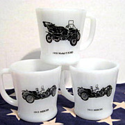 3 Fire King Vintage Car Mugs