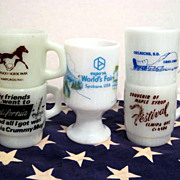5 Fire King Souvenir Mugs - California Washington Canada Kentucky