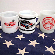3 Car Mugs - Mopar Antique Race Car Fire-King  Glasbake Westfield