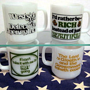 SALE PENDING 4 Glasbake Message Mugs