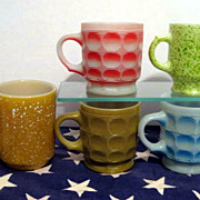Lot of  5 Colorful Fire King Mugs - Camelot Concord Speckled