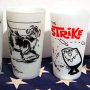 Lot of 4 Milk Glass Tumblers - Bowling Sinclair  Dinosaur Cows Advertising