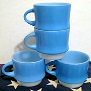 4  Fire King Blue Mosaic Cups