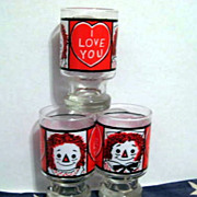 4 Juice Glass - 3 Raggedy Ann & Andy Love & 1 Kraft Polka Dot Animals