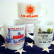 3 Fire King Advertising Mugs - HTF