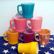 7 Colorful Fire King Mugs