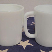 2 Hazel Atlas Child Mugs - carbon mark on one mug