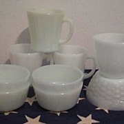 Lot of 9 Pieces Fire King Glass- Mugs - Bowls - Cups