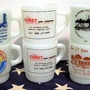 6 Fire King Advertising Mugs- as is